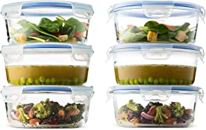 Superior Glass Round Meal Prep Containers -6pk (32oz) BPA-free Airtight Food Storage Containers with 100% Leak Proof Locking Lids, Freezer to Oven Safe Great on-the-go Portion Control Lunch Containers