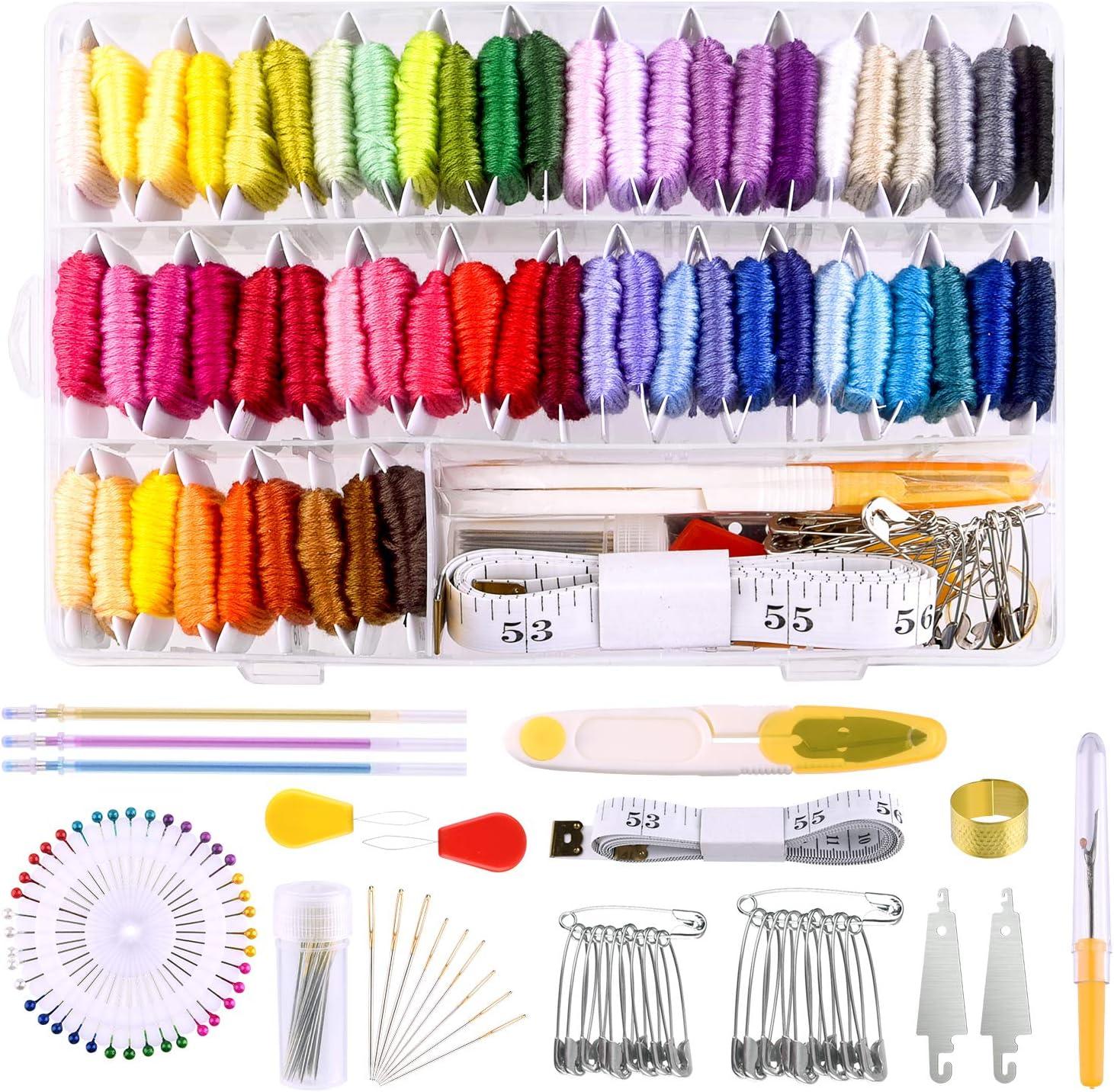 MIAHART 158 piezas de hilo de bordar con caja de almacenamiento del organizador, 57 hilos de bordado de color y kits de herramientas de punto de cruz para hacer cadenas de pulseras