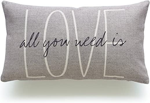 Hofdeco Lumbar Pillow Case Grey Love Is All You Need His And Her Love Script Heavy Weight Fabric Cushion Cover 12x20 Home Kitchen