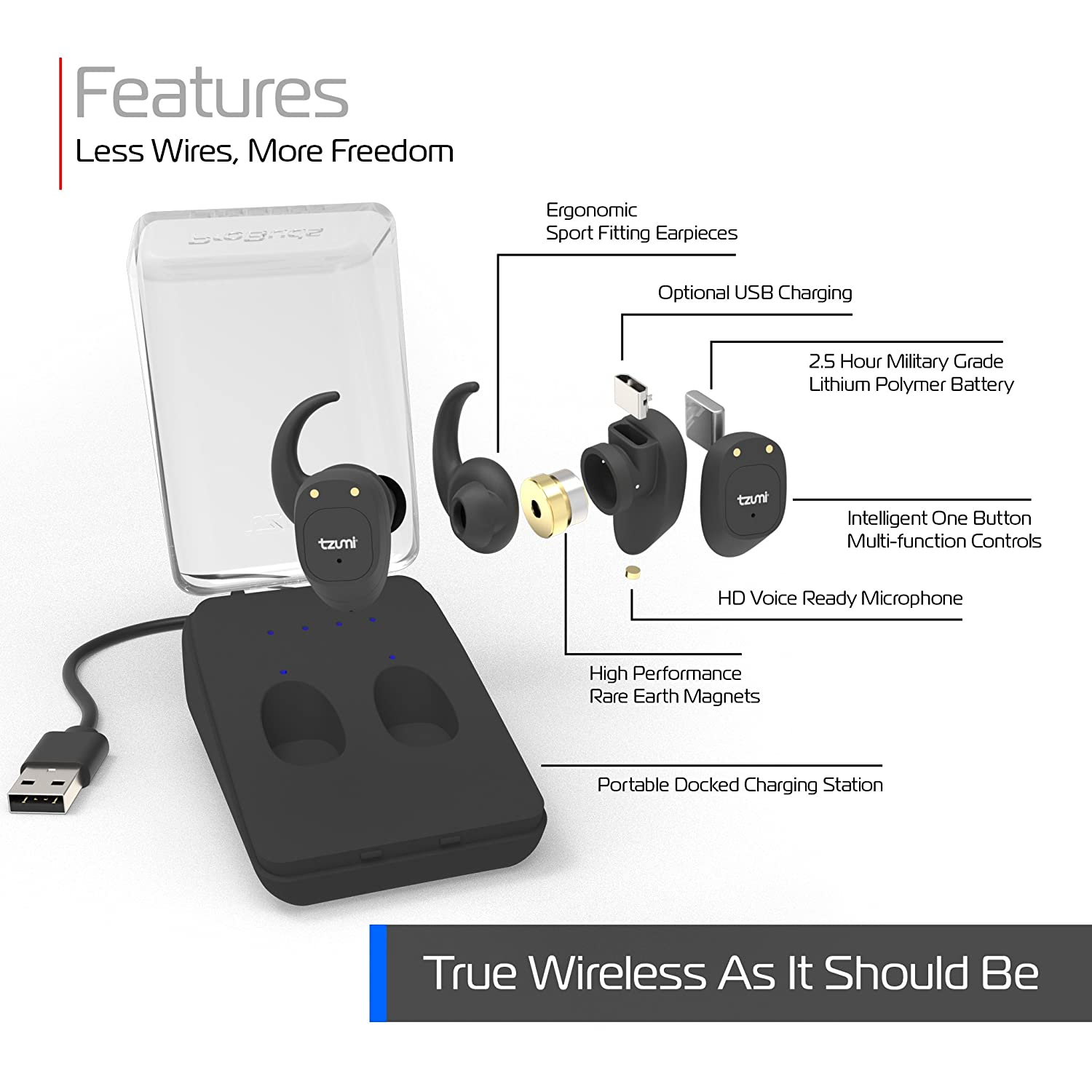 b8d2680afa8 Amazon.com: Tzumi ProBuds True Wireless Earbuds - Wireless Stereo Earbuds  With Built-In Microphone and Charging Case – Bluetooth 4.2 Compatible with  all ...