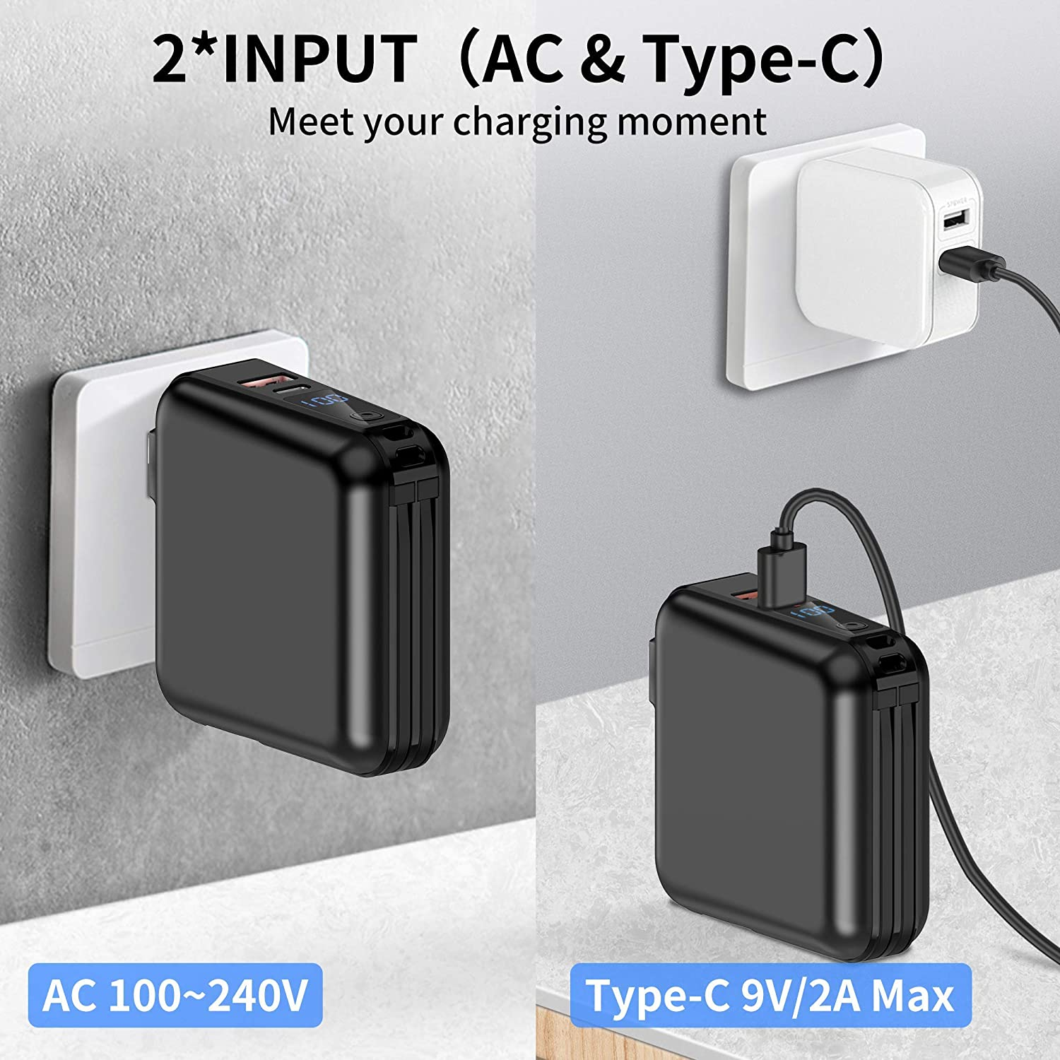 External Battery Pack Phone Charger Built-in Type-C 2 Cables Compatible for iPhone etc Portable Charger with AC Plug 15000mAh Portable Phone Charger 18W PD QC3.0 USB C Power Bank 4 Output 2 Input