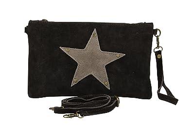 84da438adec6f AMBRA Moda Damen Wildleder Clutch Handtasche veloursleder Tasche Stern  Handschlaufe WL814 (Dunkelbraun)
