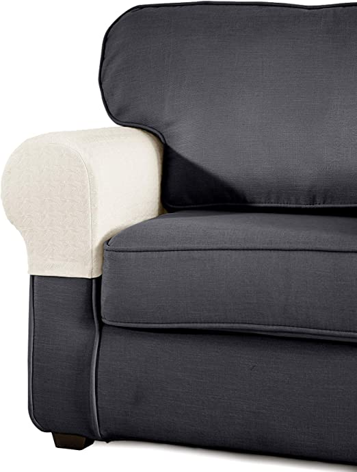 Symax Spandex Armrest Stretch Fabric Anti Slip Recliner Arm Covers Furniture Protector Set Of 2 Beige