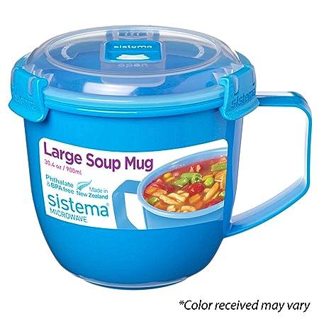 Sistema - Taza de Sopa para microondas, plástico, 900 ml ...