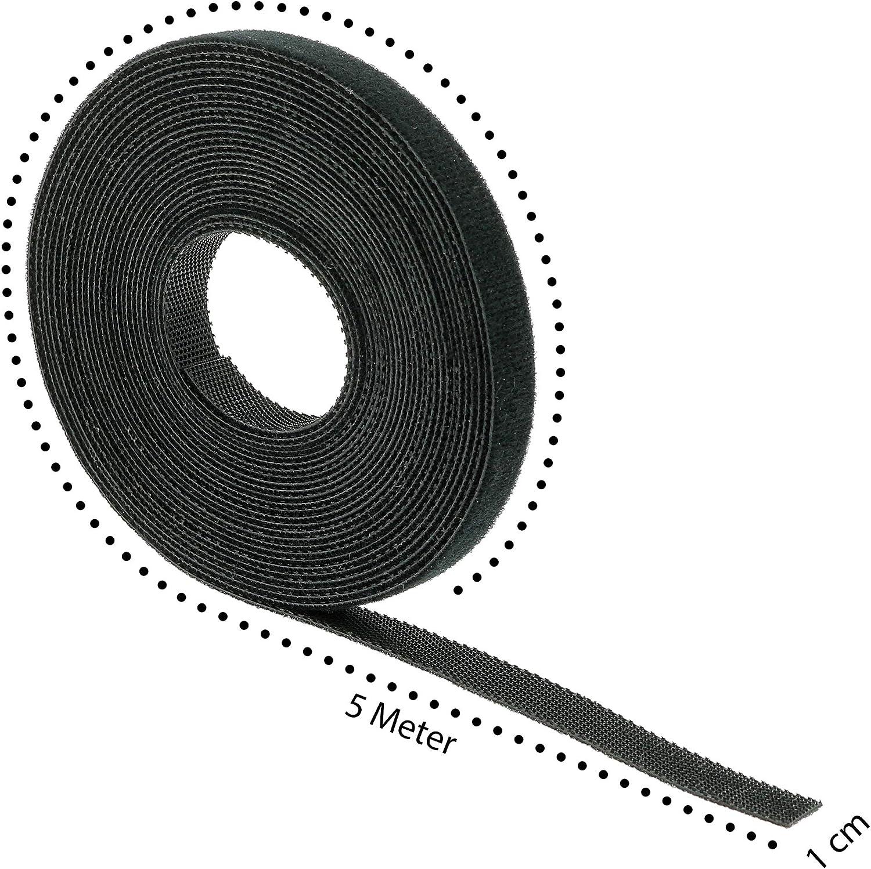 Flexowire Klett-Kabelbinder 10mm x 5m frei zuschneidbar wiederverwendbar Klebeband Kabelmanager