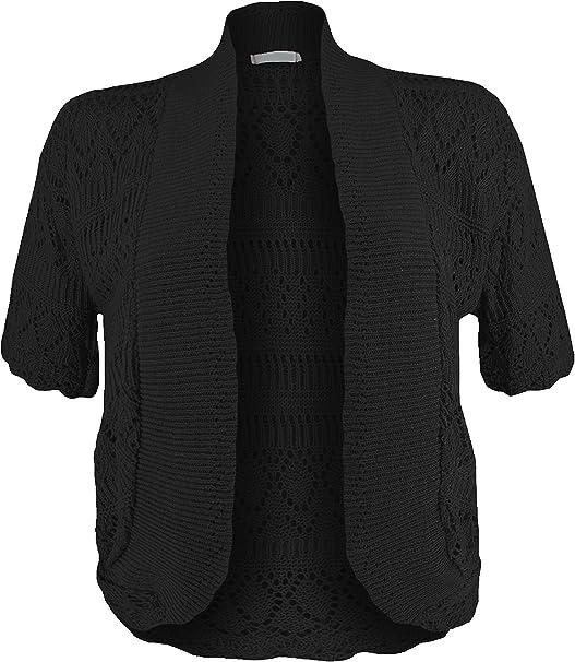 Ladies Women/'s Crochet Knit Cropped Short Sleeve Bolero Cardigan Shrug 8-16