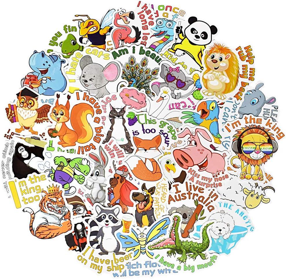 Cute Animal Stickers for Kids Cute Animal Laptop Stickers for Water Bottles Kawaii Stickers for Hydroflask Waterproof 50Pcs