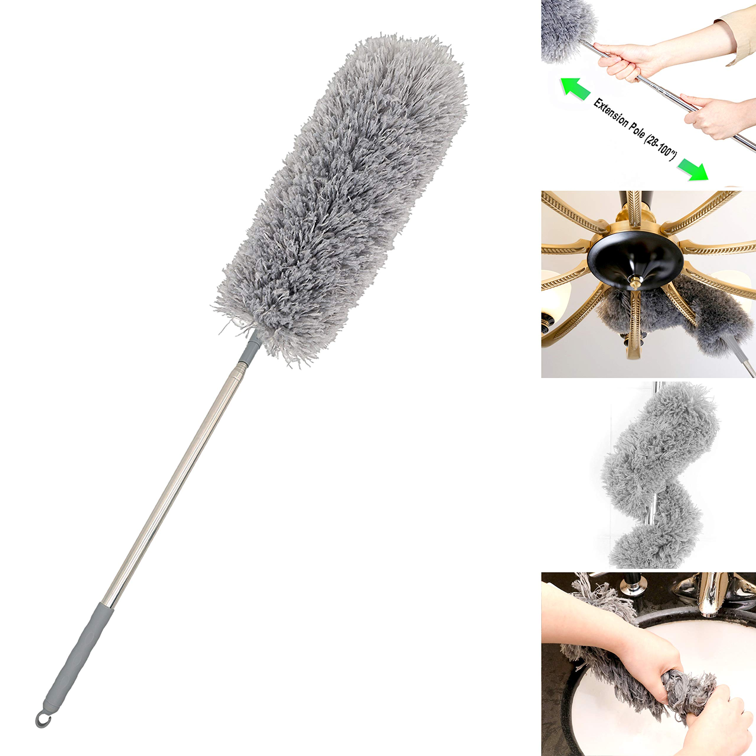 Microfiber Duster Extra Long Telescopic Pole (100'') Scratch-Resistant Cover,Bendable,Washable,Hypoallergenic,Lint Free Feather Dusters for Cleaning Roof,Ceiling Fan,Blinds,Cobwebs,Baseboards by FoVo
