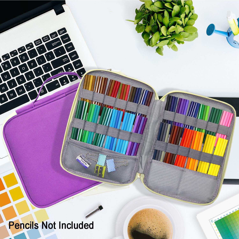 Pratique et Solide 96 Slots Pencil Case Vert YOUSHARES Trousse Sac /à Crayons et Stylos Sangle et Grande Capacit/é