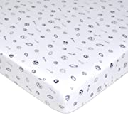 American Baby Company Printed 100% Natural Cotton Jersey Knit Fitted Portable/Mini-Crib Sheet, Navy/Grey Sports, Soft Breathable, for Boys