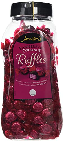 Jamesons Ruffle Raspberry Raspberry Flavour Coconut Fondant Creams Covered In Dark Chocolate 15kg Jar