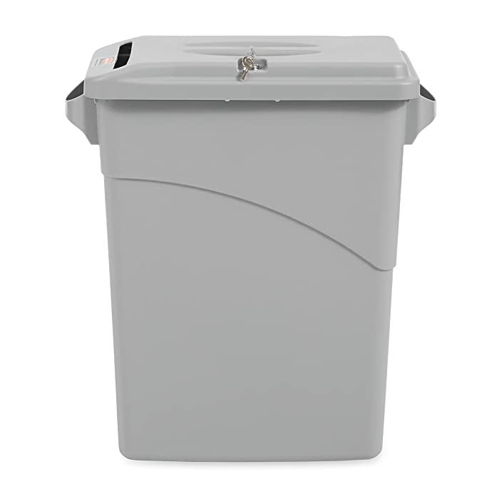Rubbermaid Commercial Slim Jim Confidential Document Trash Can with Lid, 16 Gallon, Gray, FG9W2500LGRAY