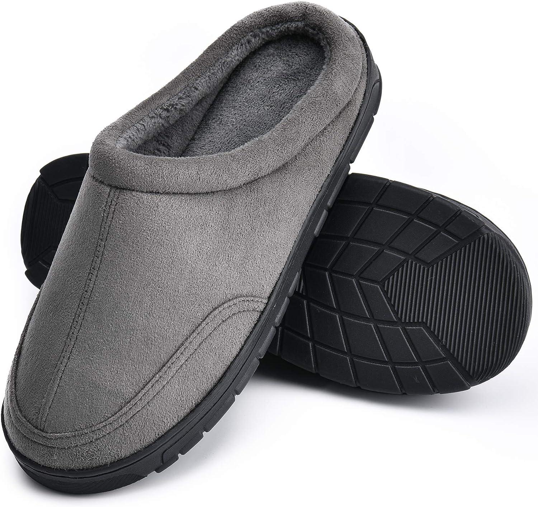 TEMI Men's Cozy Memory Foam House Slippers, Anti-Slip Hard Rubber Sole Bedroom Home Slippers Winter Indoor Outdoor Warm Soft Man Slipper Shoes