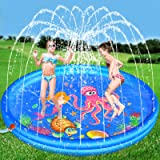Hamsoo 68'' Splash Pad Play Mat for Kids Age 2 3 4 5 6 7 8, Sprinkle & Splash Summer Toys for Toddlers Outdoor Swimming Baby