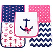 Baby Burp Cloths for Girls 5-Pack - 100% Organic Cotton 3 Layer Baby Shower Gift
