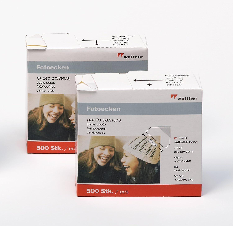 Walther FE500DP Angoli foto autoadesivi, 2 confezioni da 500 pezzi, colore: Bianco