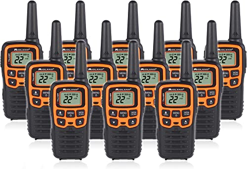 Midland T51VP3 22 Channel FRS Walkie Talkie – Up to 28 Mile Range Two-Way Radio – Orange Black Pack of 12
