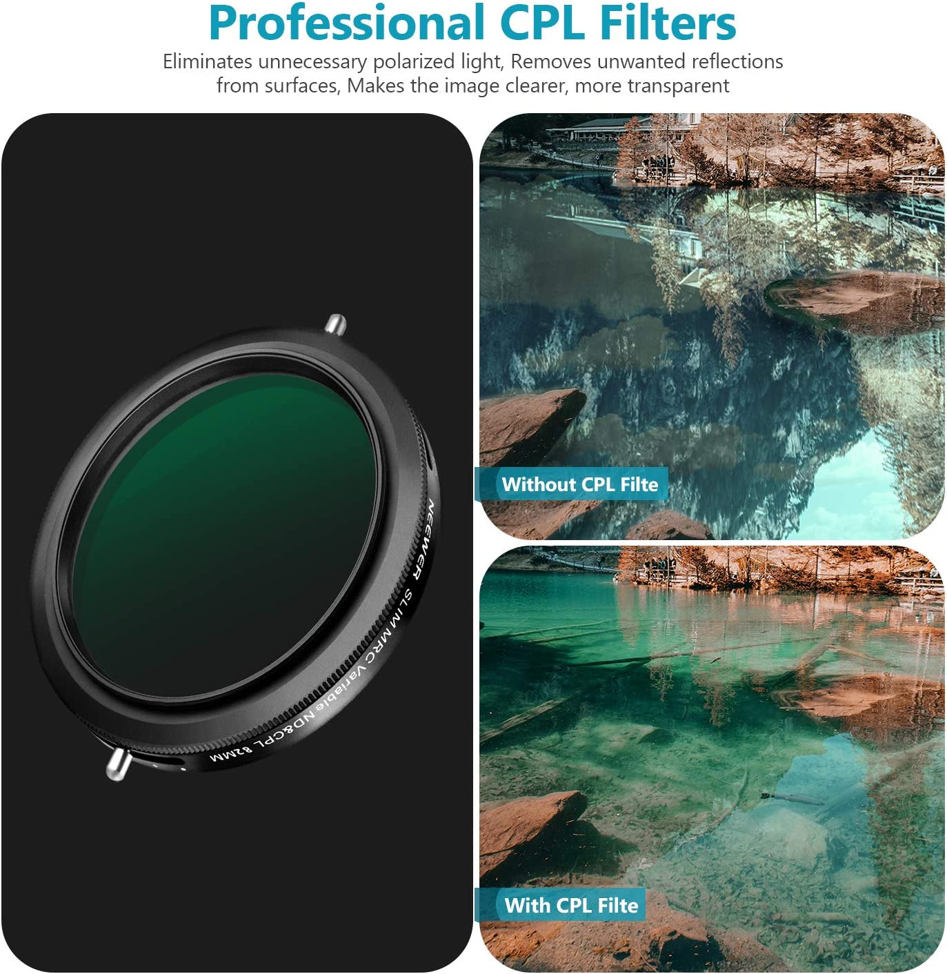 No Black Cross Oil Resistance Multilayer Coating Neewer 72mm Variable Fader ND2-ND32 ND Filter and CPL Circular Polarizing Filter 2 in 1 for 72mm Thread Camera Lens