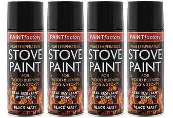 4 botes de 400 ml de pintura negra mate resistente a temperaturas de hasta 600 °