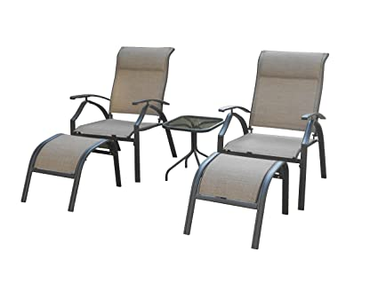 Terrific Backyard Classics Astoria 5 Piece Patio Seating Set With Adjustable Sling Chair Ottomans And Glass Table Top Gmtry Best Dining Table And Chair Ideas Images Gmtryco