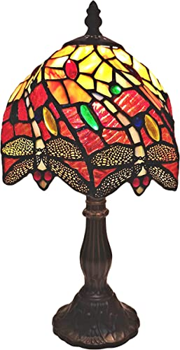 Amora Lighting Tiffany Style Mini Accent Lamp Red Yellow Jewels Dragonfly Bedside Nightstand End 14.5 Tall 8 Wide D cor Antique Vintage Handmade Gift AM064TL08B, Multicolor,Medium