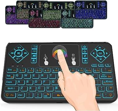 SUAVER 2.4GHz Teclado inalámbrico con Touchpad Ratón,Colorido Teclado retroiluminado inalámbrico Mini, Teclado Remoto inalámbrico Recargable para ...