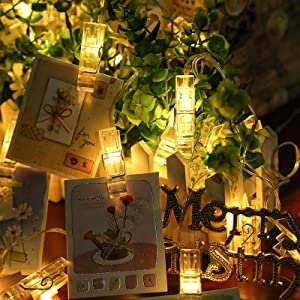 Ecurfu Photo Clips String Lights/Holder, Fairy Light Clear Clips for Hanging Photos Pictures Cards and Memos, Great for Thanksgiving Christmas Party Wedding Décor - 30 LED 10Ft Warm White