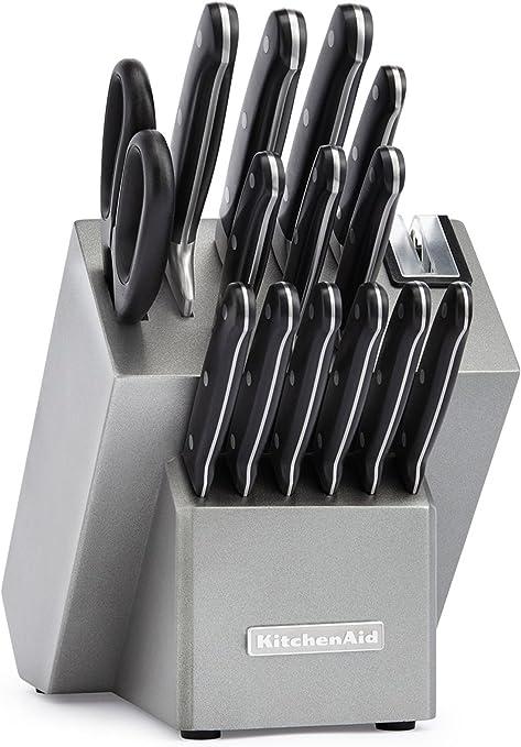 Amazon Com Kitchenaid Kkftr16sl 16 Piece Classic Forged Series Triple Rivet Cutlery Set Silver Kitchen Dining