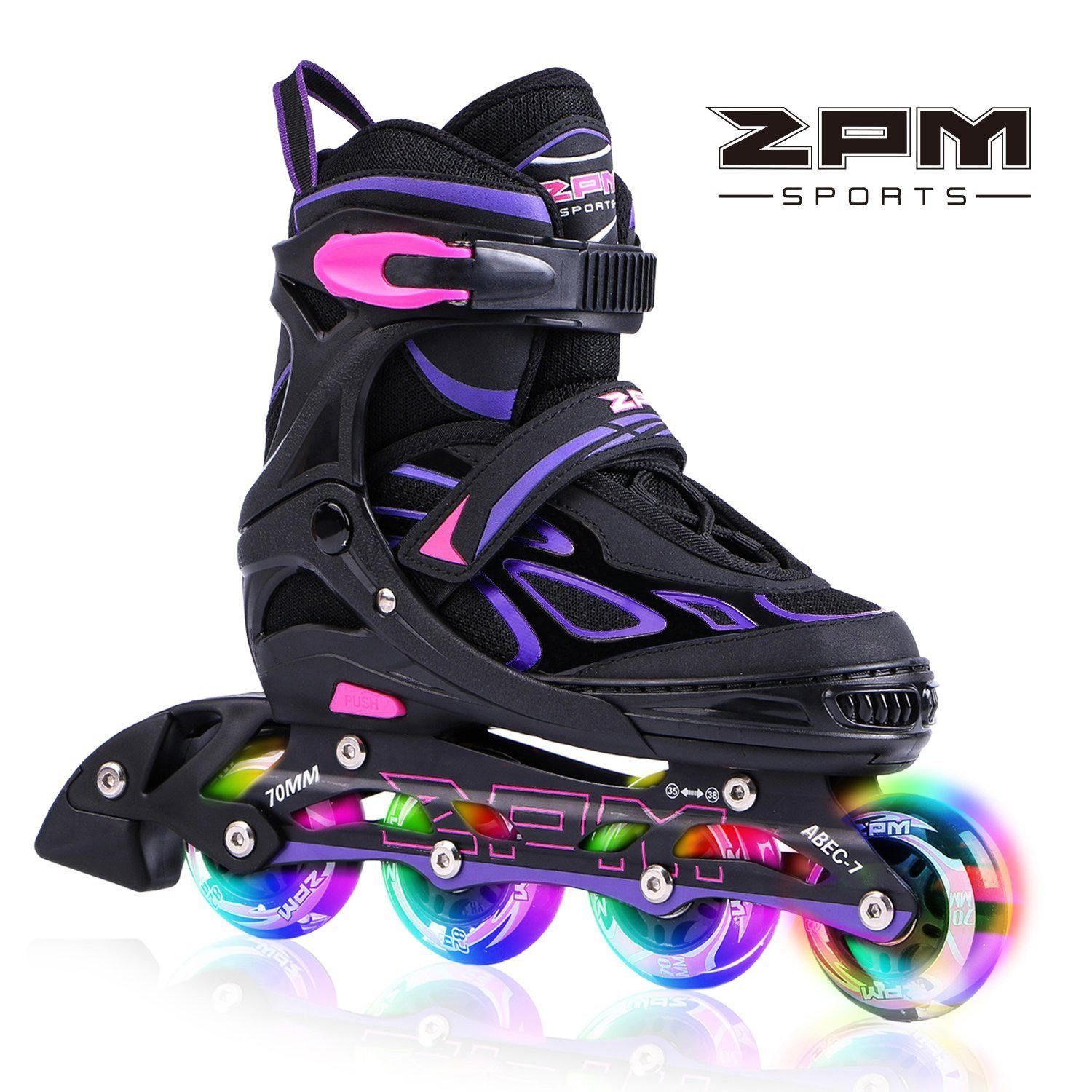 2pm Sports Vinal Girls Adjustable Flashing Inline Skates, All Wheels Light Up, Fun Illuminating Rollerblades for Kids and Ladies - Violet M