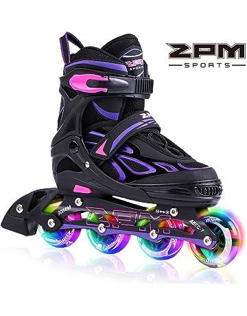 dbc37a77c 2PM SPORTS Vinal Girls Adjustable Inline Skates with Light up Wheels  Beginner Skates Fun Illuminating Roller