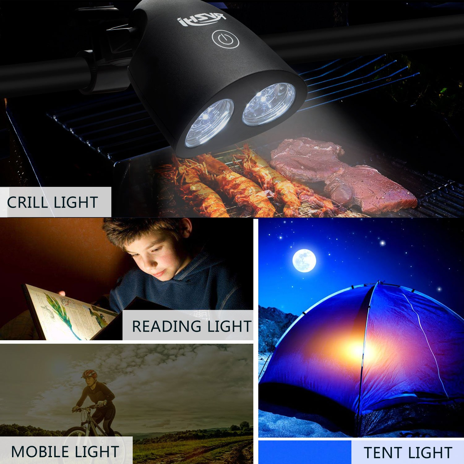 Barbecue Grill Light, RVZHI 360°Rotation Grill Lights for BBQ With 10 Super Bright LED Lights- Durable,Heat Resistant,Waterproof,100lm LED BBQ Light for Gas/Charcoal/Electric Grill-Battery Not Include by RVZHI (Image #6)