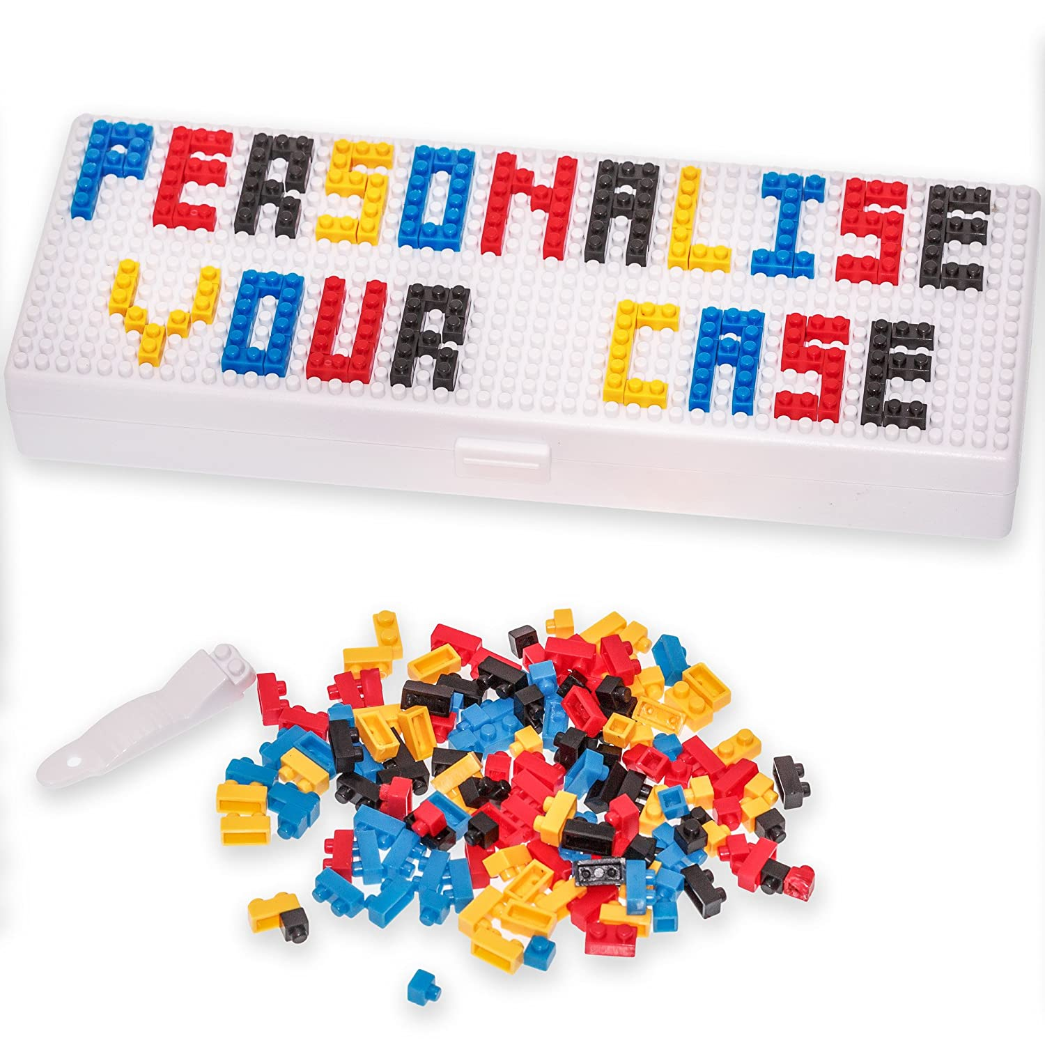 Pencil Case - Personalise box with micro bricks - for Boys Girls and Adults use for School or Work - Microbrix Echo Three
