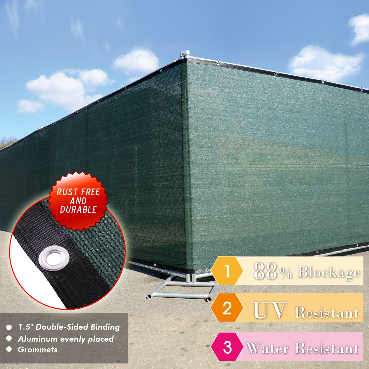 LAZYMOON Dark Green 4'x 50' Fabric Fence Windscreen Privacy Screen Shade Cover for Patio Garden Tarp