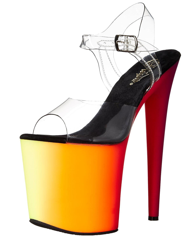 Pleaser Women's RBOW808UV/C/NMC Platform Dress Sandal B00QPTGFUO 6 B(M) US|Clear/Neon Multi