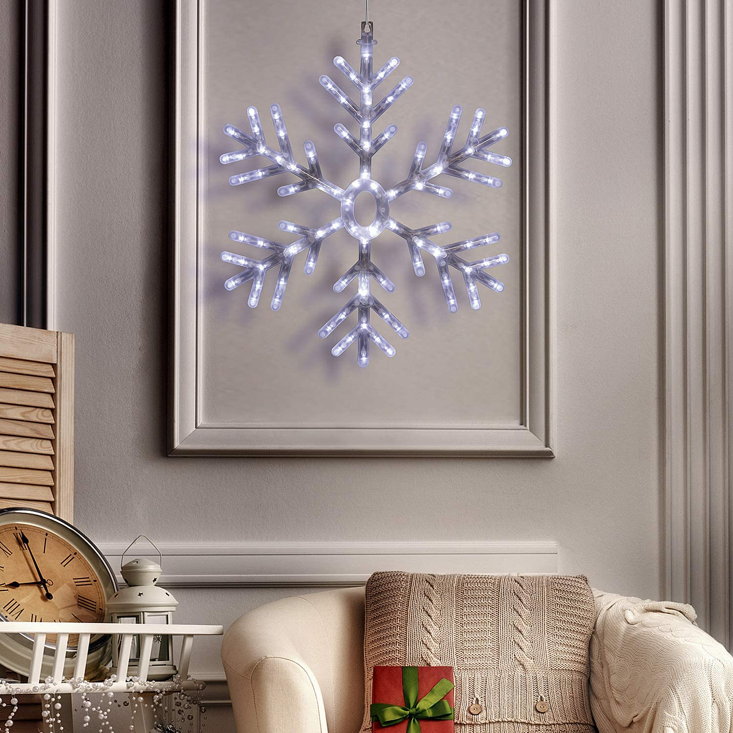 Alpine Corporation Hanging Snowflake with LED Lights and Remote Control, Festive Holiday Decor for Home and Garden - 25-Inch Tall - White