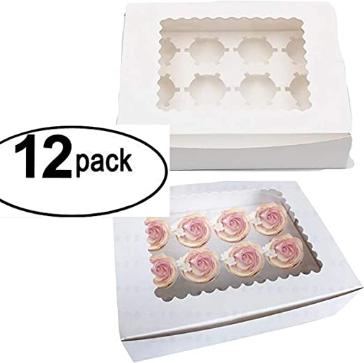 25 Cupcake Box holds 12 each PINK 14 x 10 x 4 Bakery Box and Inserts for 300