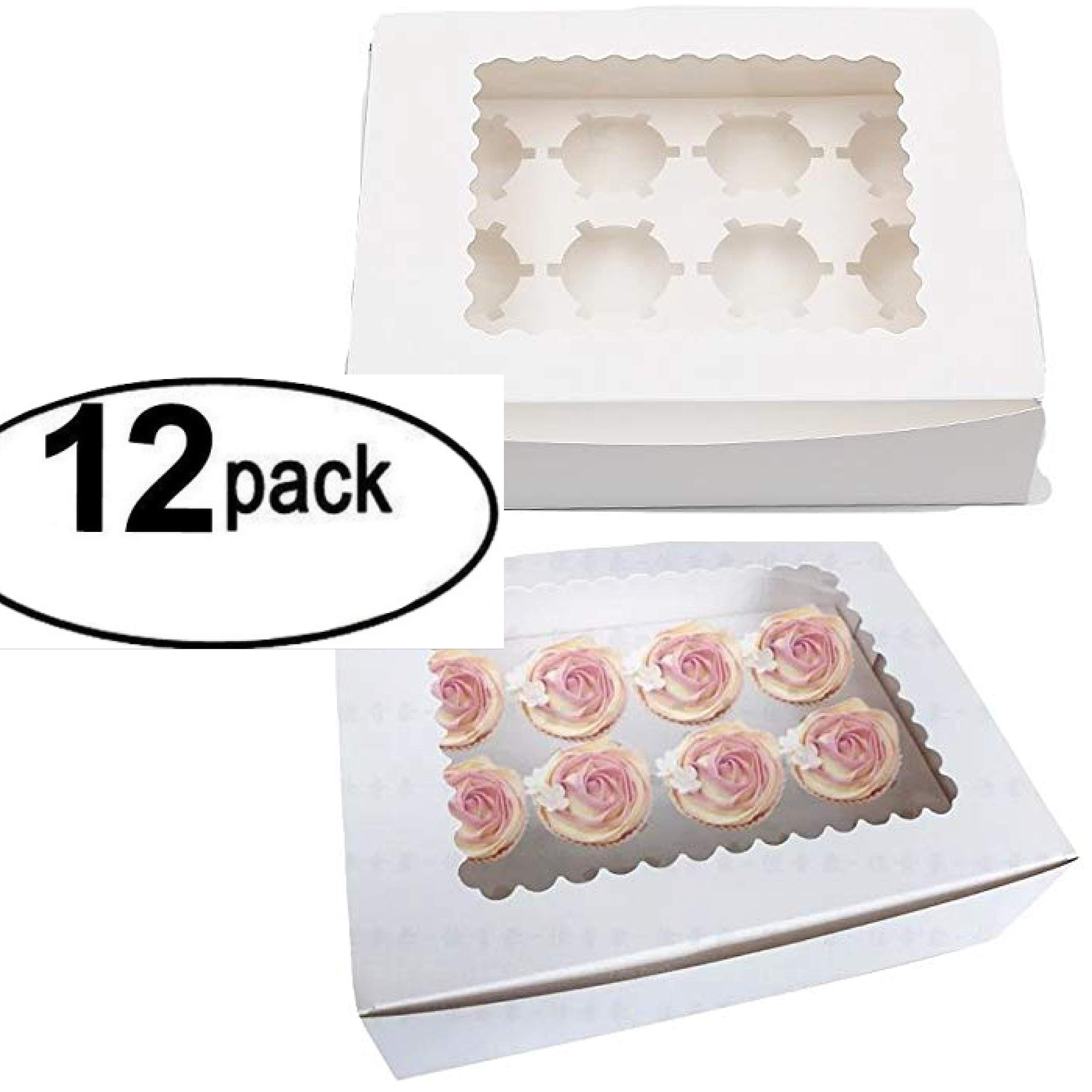Window Bakery Cupcake Box With Insert, Bakery Boxes for Cupcakes with Display Window 12 Pack Cupcake Boxes (12, 14'' x 10'' x 4'')
