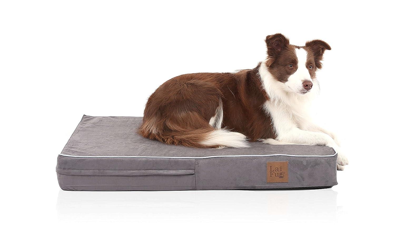 LaiFug - Cama ortopédica de Espuma viscoelástica para Mascotas y Perros con Forro Impermeable Duradero y Funda extraíble Lavable, 87 x 56 x 10 cm, ...
