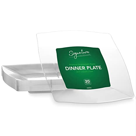 SIGNATURE PARTY DISPOSABLE CLEAR PLASTIC PLATES | 10 Inch Square Wedding Dinner Plates 20 Ct  sc 1 st  Amazon.com & Amazon.com | SIGNATURE PARTY DISPOSABLE CLEAR PLASTIC PLATES | 10 ...