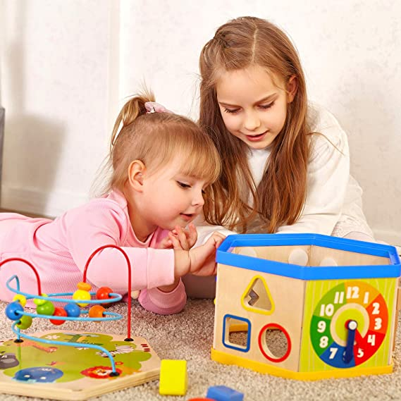 Piscina TOP BRIGHT Torre de Cubos de Colores Madera y Pl/ástico Juguete para Beb/és a Partir de 6 Meses para Jugar en la Playa Jardin Ba/ño Juego de 6 Tazas Apilables para Ni/ños y Ni/ñas