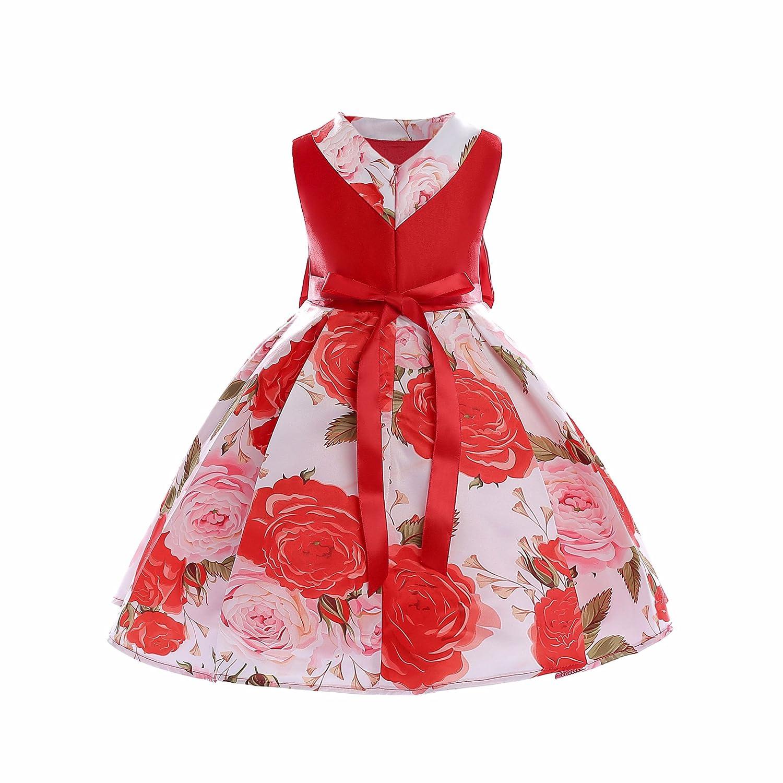 CHU 06-rojo Vestido de Flor Cálida para Niña, Cálida Fiesta con de ...