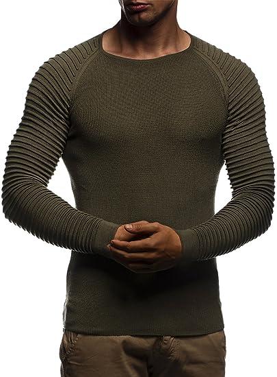 3e5e7b15eaed9 LEIF NELSON pour des Hommes Pullover Pull en Tricot Hoodie Basic col Rond  Crew Neck Sweatshirt