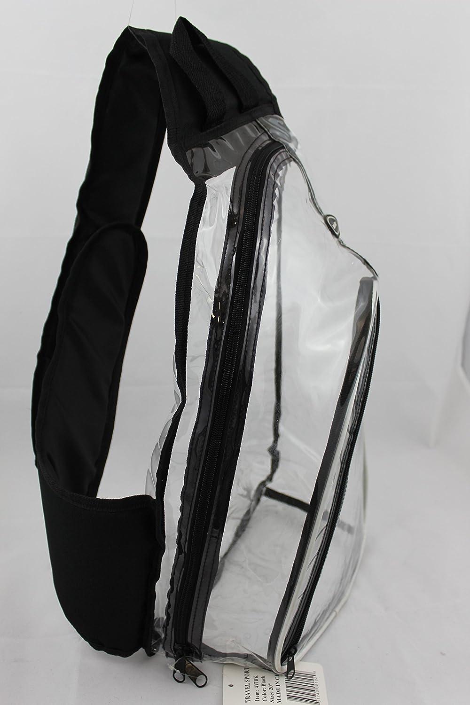 School Bag 417BK Travel Sport Clear PVC Vinyl One Shoulder Sling Backpack