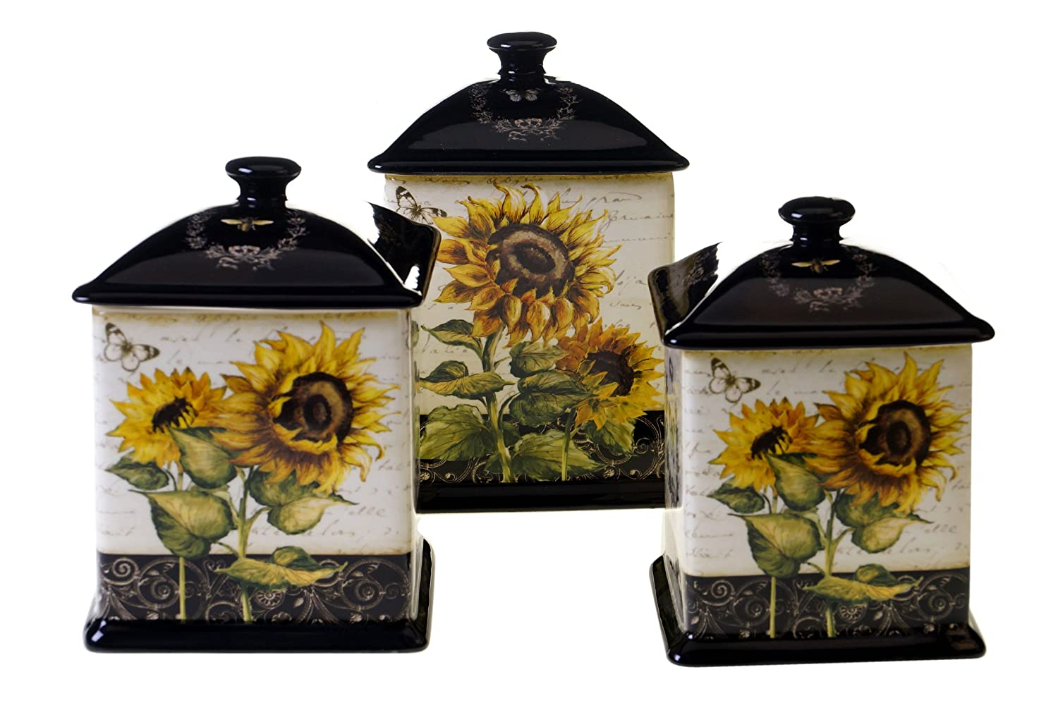 amazon com certified international french sunflowers 3 piece amazon com certified international french sunflowers 3 piece canister set 56 ounce 60 ounce and 96 ounce kitchen dining