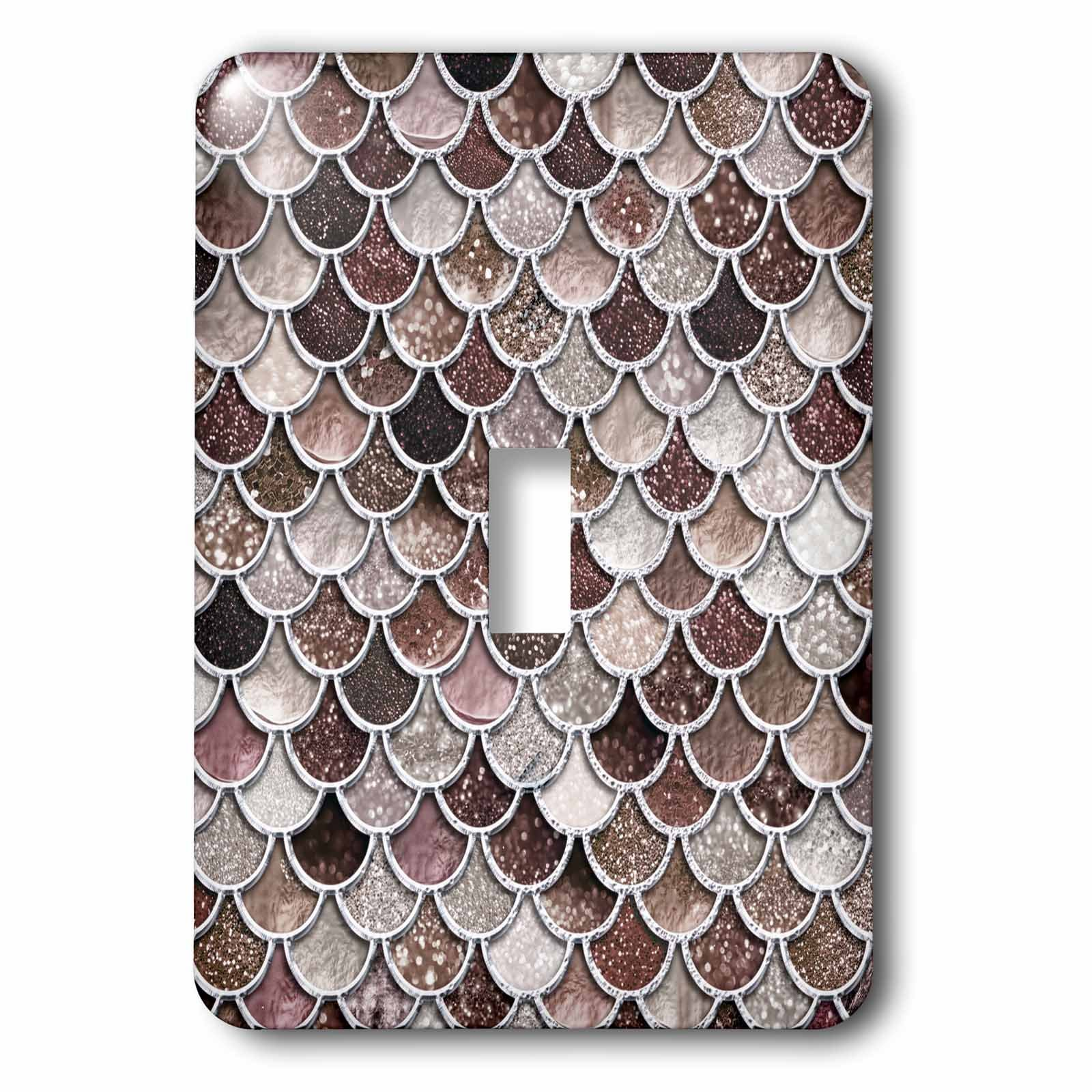 3dRose Uta Naumann Faux Glitter Pattern - Image of Sparkling Brown Luxury Elegant Mermaid Scales Glitter Effect - Light Switch Covers - single toggle switch (lsp_275445_1) by 3dRose (Image #1)