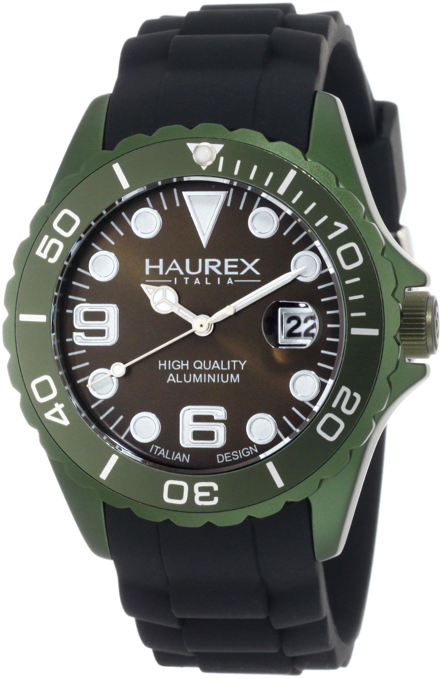 Haurex Italy Men's 1K374UVV Ink Khaki Green Rubber Band Aluminum Dial Watch