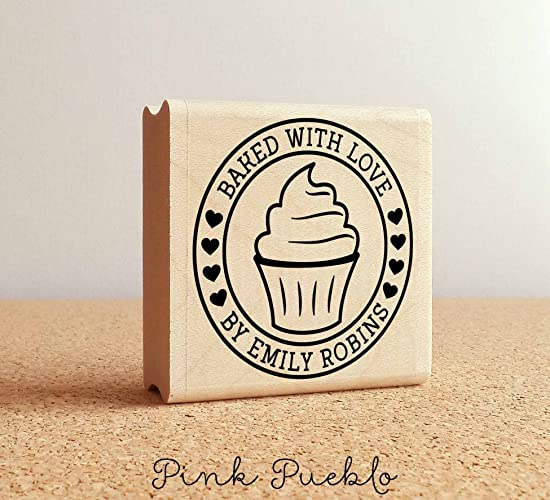 e6d88843a55e Personalized Baked with Love Rubber Stamp, Label Stamp with Cupcake