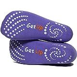 Black/Purple Yoga Socks for Women with Non Slip - Skid Grip. Also Ideal for Pilates, Barre, Ballet or as Slipper Socks