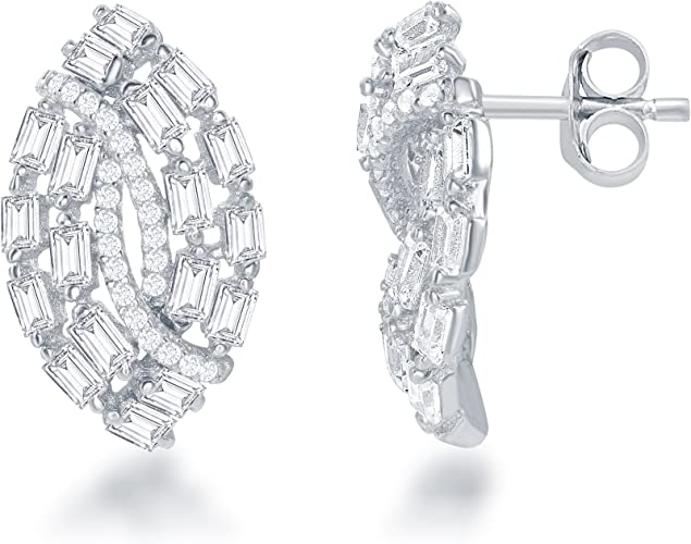 MADE IN ITALY 925 STERLING SILVER ZIRCONIA CLUSTER EARRINGS