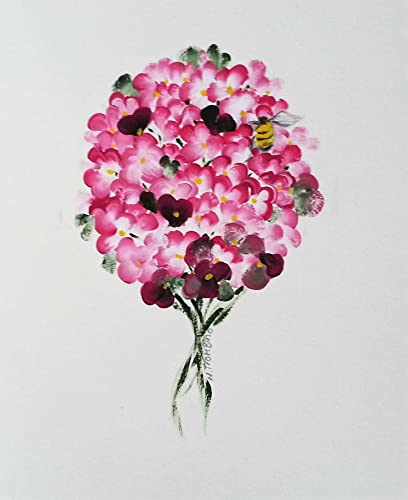 Original Hydrangea Bumble Bee Floral Acrylic Painting On Watercolor Paper Image Size 5quot X